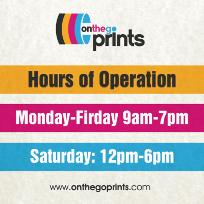On The Go Prints Hours of Operation Sticker